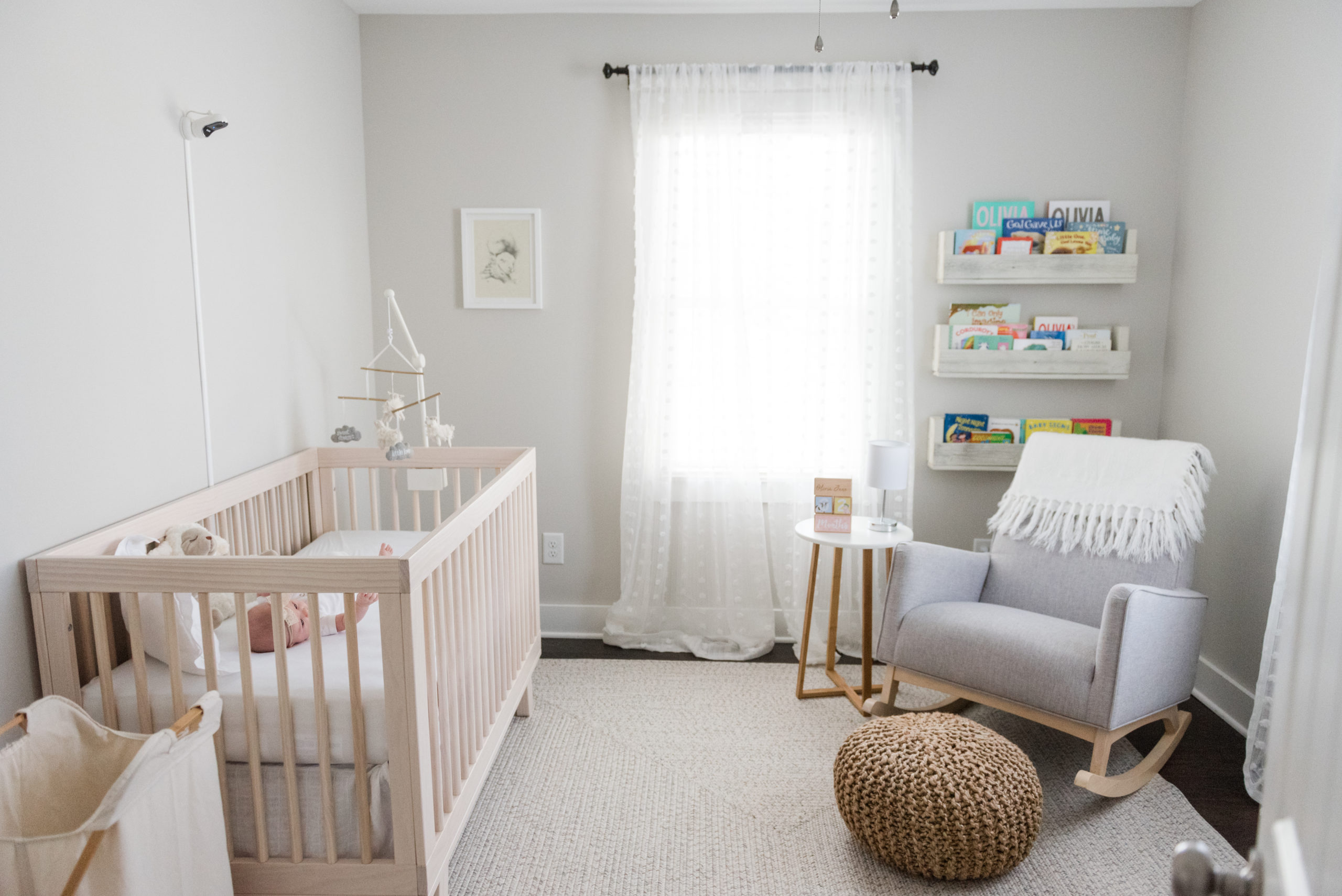 Olivia's Soft Gray and Neutral Lamb Baby Nursery - Sweet Williams Photography is a lifestyle, engagement and wedding photographer serving the Nashville, Tennessee area.